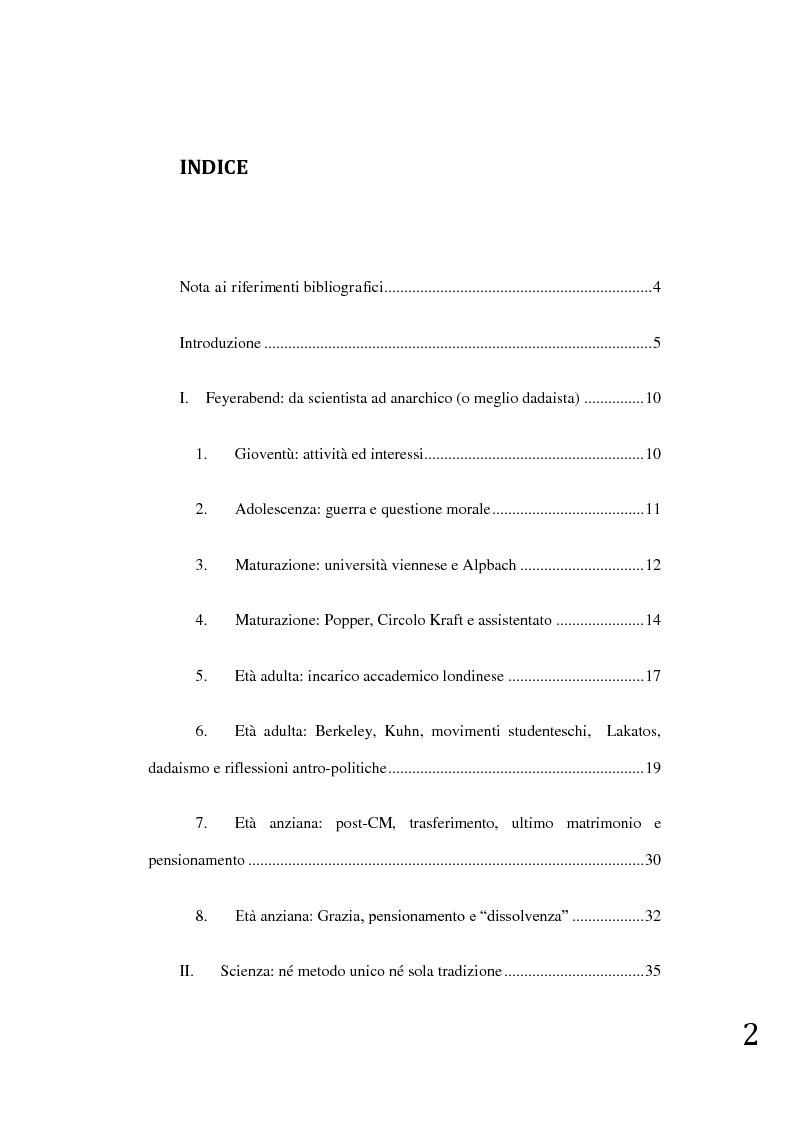 Indice della tesi: Paul K. Feyerabend: un teatro di ricerca, democrazia e umanitarismo, Pagina 1