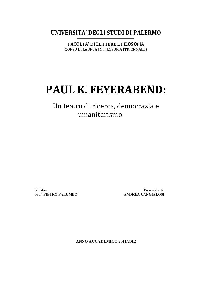 Anteprima della tesi: Paul K. Feyerabend: un teatro di ricerca, democrazia e umanitarismo, Pagina 1
