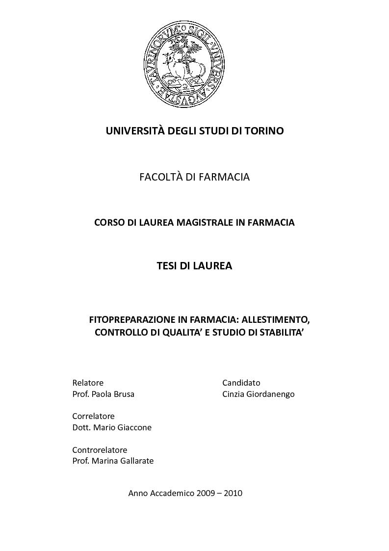 Anteprima della tesi: Fitopreparazione in farmacia: allestimento, controllo di qualità e studio di stabilità, Pagina 1