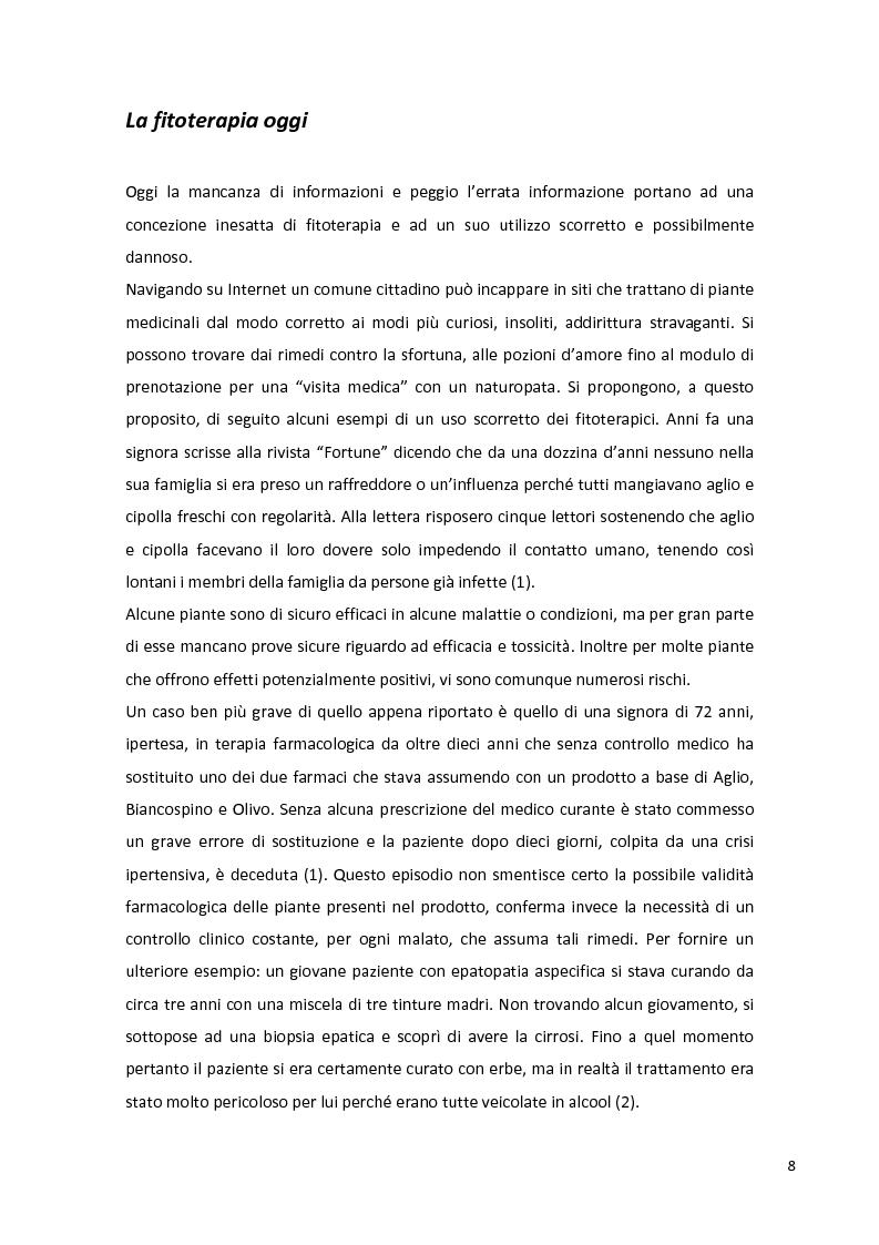 Anteprima della tesi: Fitopreparazione in farmacia: allestimento, controllo di qualità e studio di stabilità, Pagina 6