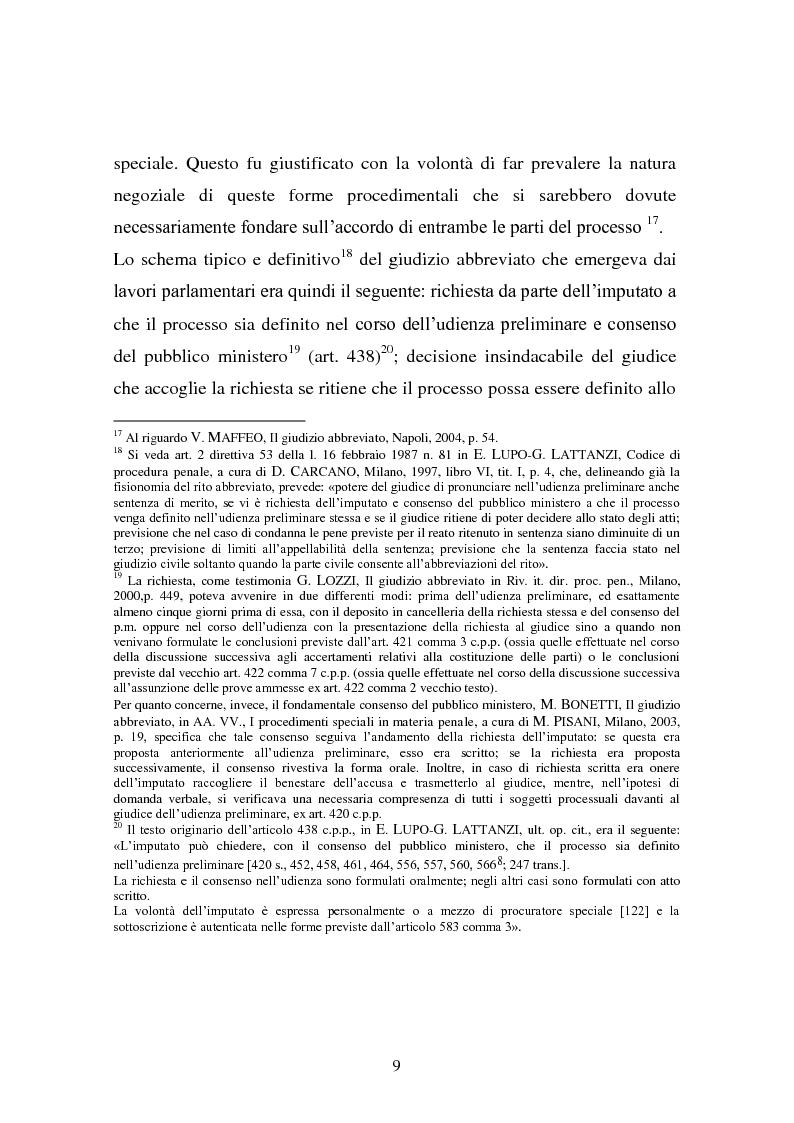 Anteprima della tesi: Il rito abbreviato. Evoluzione dalla legge Carotti ad oggi, Pagina 8