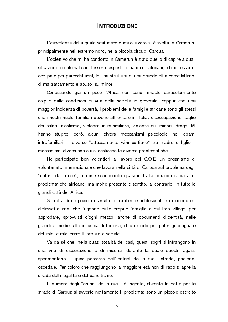 Anteprima della tesi: I ragazzi di strada di Garoua, Pagina 1