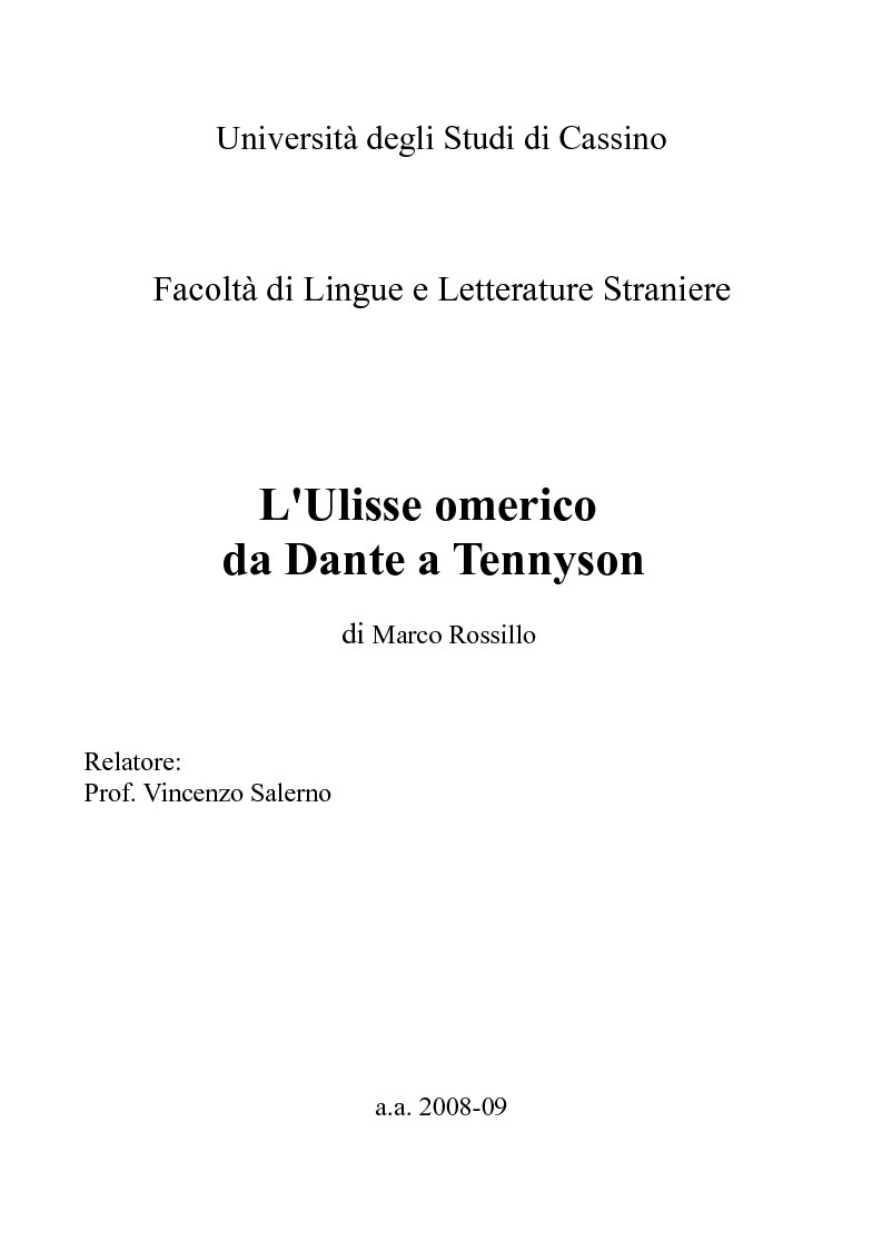 Anteprima della tesi: L'Ulisse omerico da Dante a Tennyson, Pagina 1