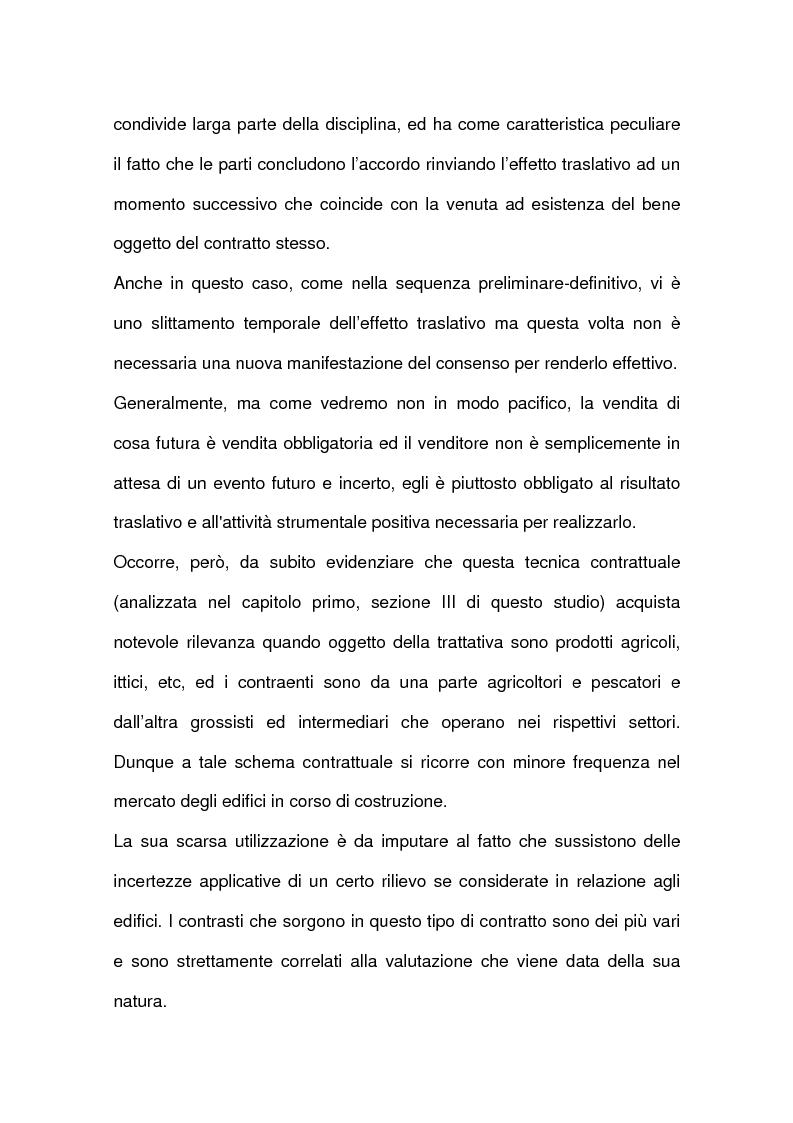 Anteprima della tesi: I contratti relativi ad edifici in corso di costruzione: preliminare di vendita, vendita di cosa futura, appalto, Pagina 12