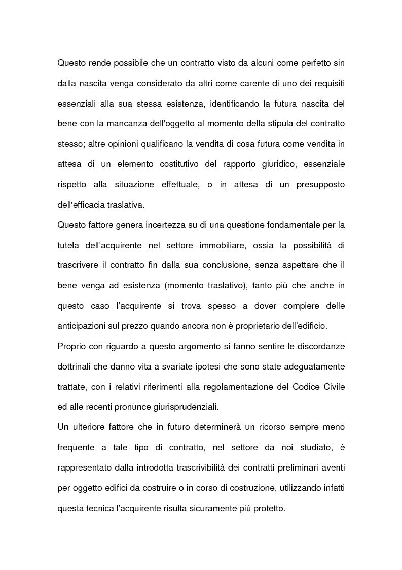 Anteprima della tesi: I contratti relativi ad edifici in corso di costruzione: preliminare di vendita, vendita di cosa futura, appalto, Pagina 13