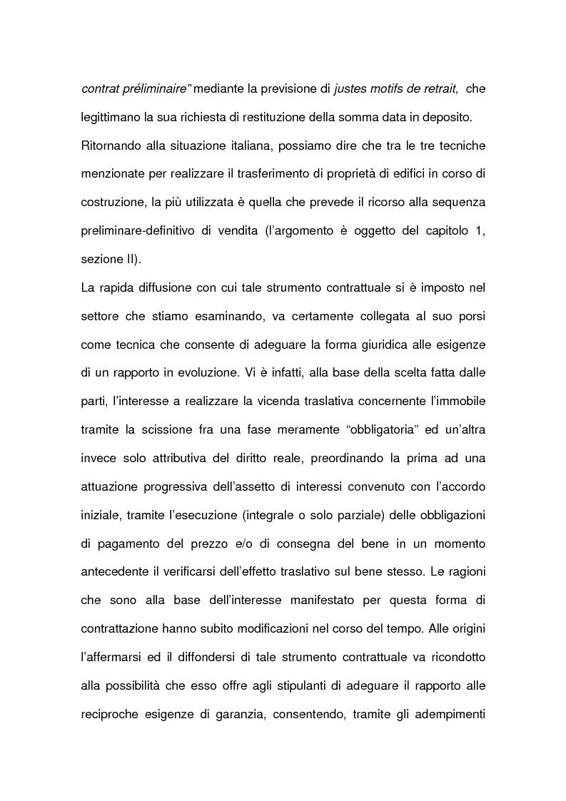 Anteprima della tesi: I contratti relativi ad edifici in corso di costruzione: preliminare di vendita, vendita di cosa futura, appalto, Pagina 6