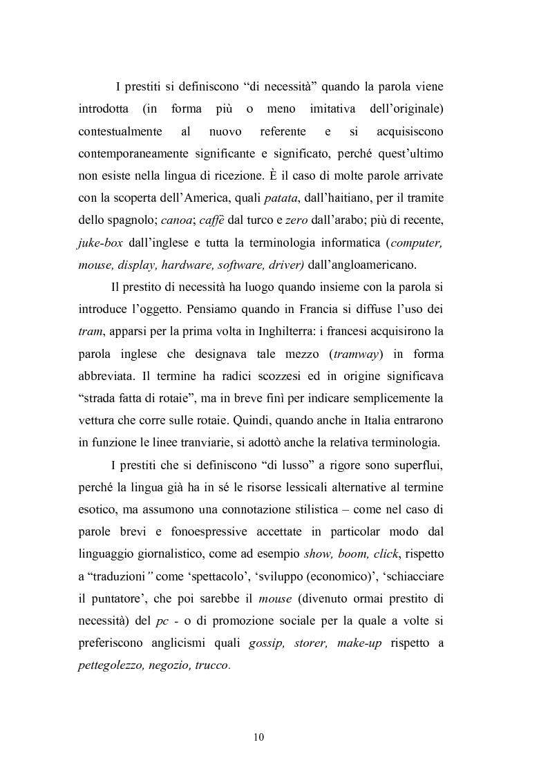 Anteprima della tesi: Prestiti di lusso e falsi anglicismi nei periodici femminili italiani, Pagina 11