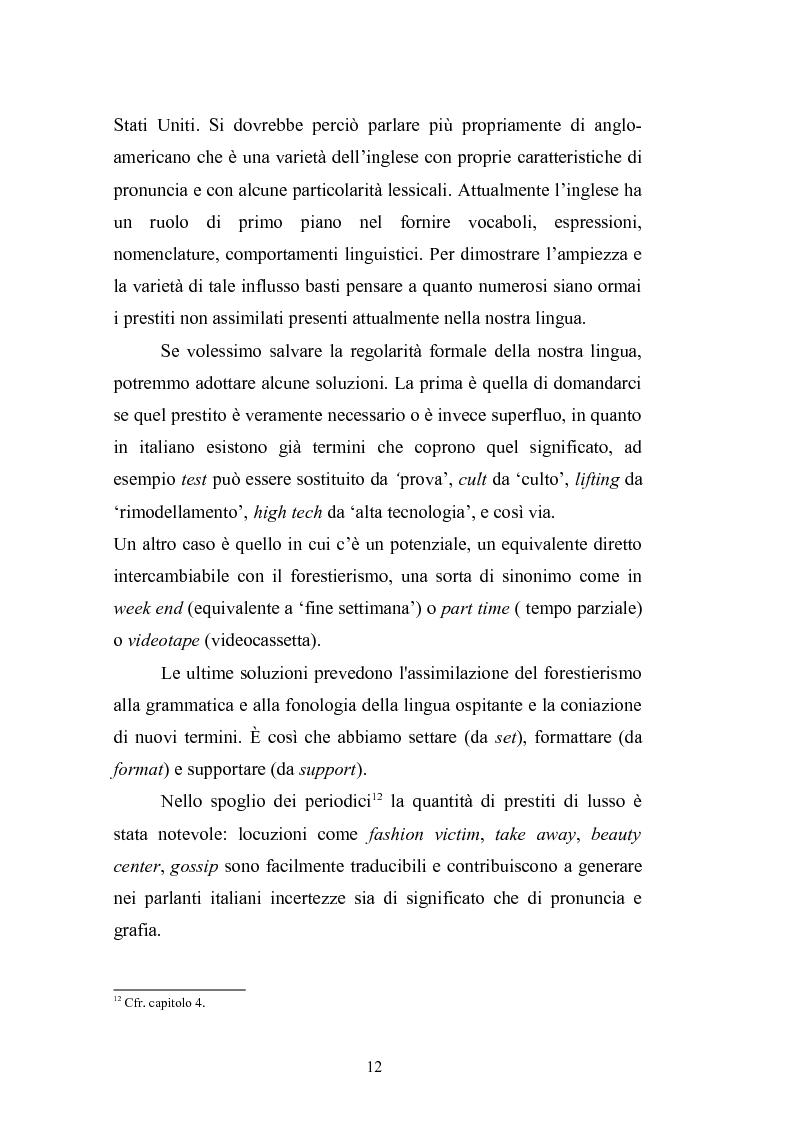 Anteprima della tesi: Prestiti di lusso e falsi anglicismi nei periodici femminili italiani, Pagina 13