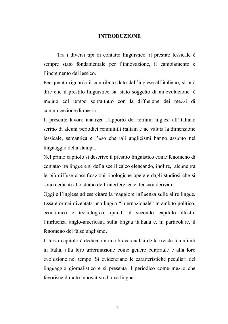 Anteprima della tesi: Prestiti di lusso e falsi anglicismi nei periodici femminili italiani, Pagina 2
