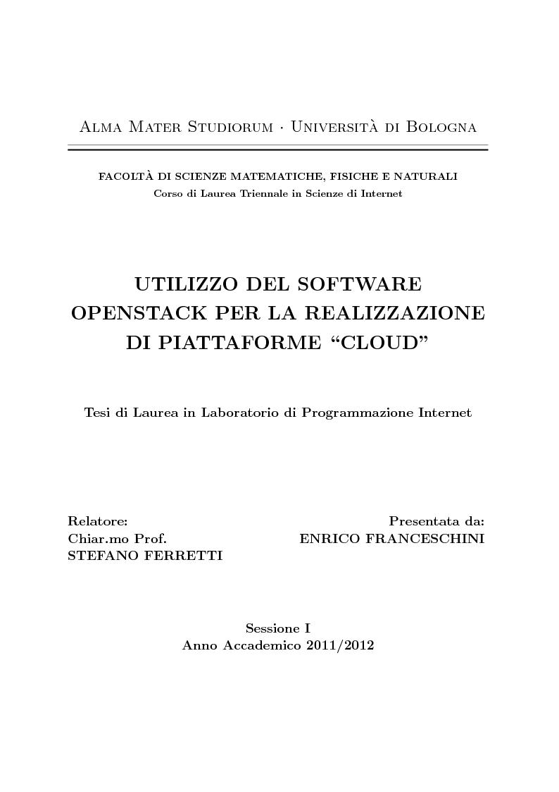 Alma mater studiorum universit a di bolognafacolt a di for Consul openstack