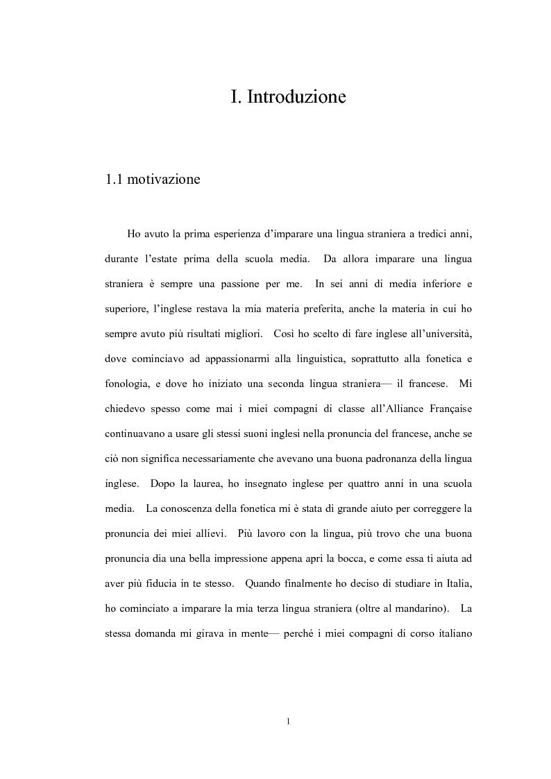 Problemi fonici dei sinofoni che apprendono l'italiano - Tesi di Laurea