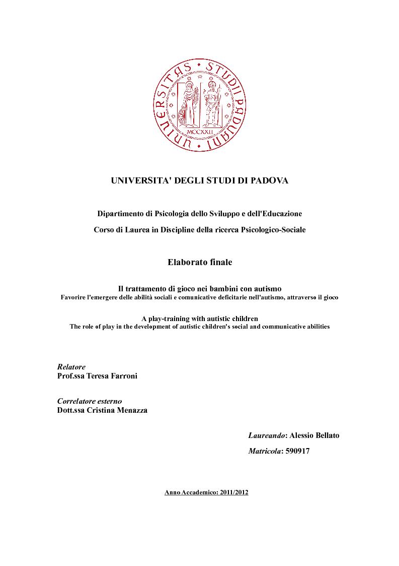 Universita 39 degli studi di padov adipartimento di for Tesi autismo e gioco
