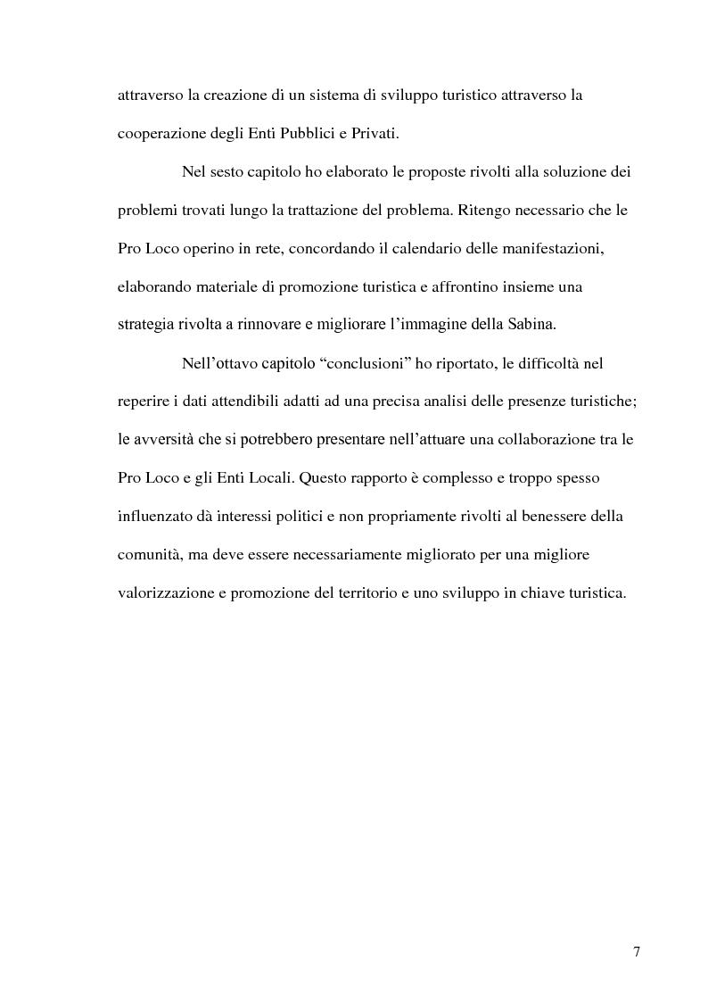 Anteprima della tesi: Pro Loco: la valorizzazione della Bassa Sabina., Pagina 6