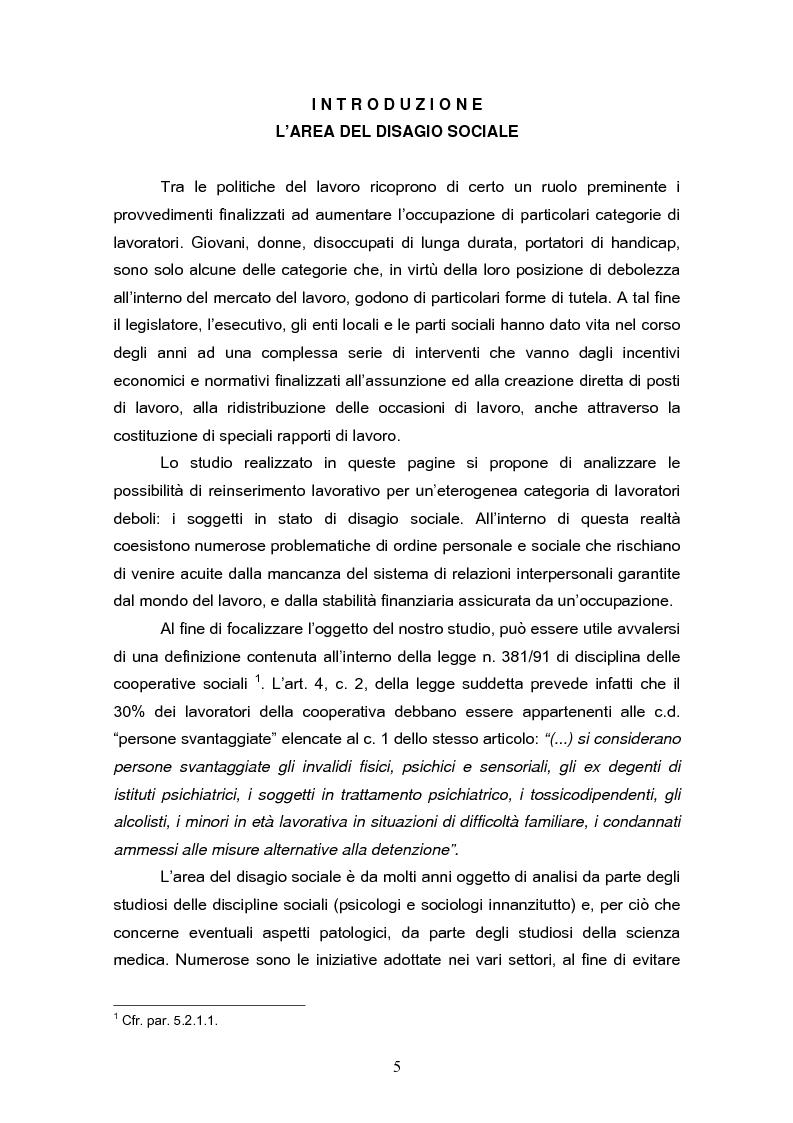 Anteprima della tesi: Il reinserimento lavorativo dei soggetti in stato di disagio sociale, Pagina 1