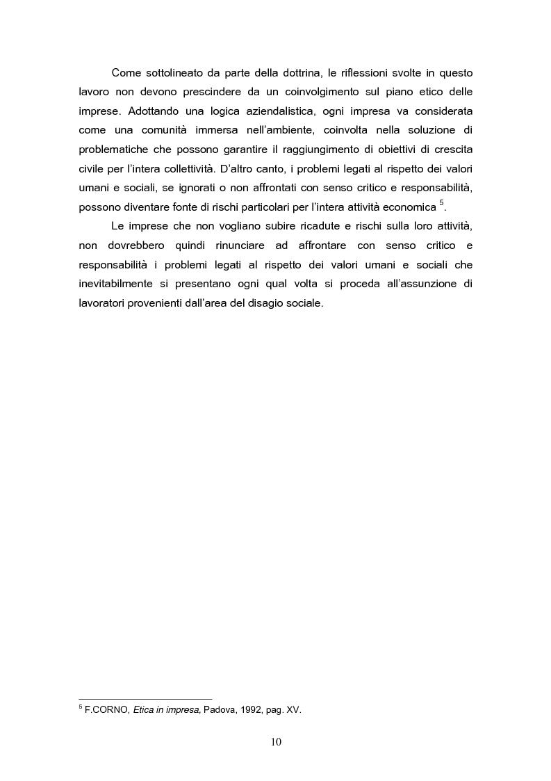 Anteprima della tesi: Il reinserimento lavorativo dei soggetti in stato di disagio sociale, Pagina 6