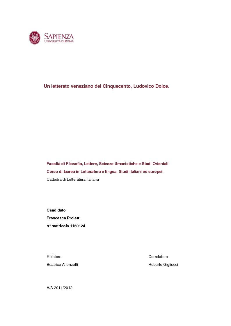 Anteprima della tesi: Un letterato veneziano del Cinquecento, Ludovico Dolce, Pagina 1