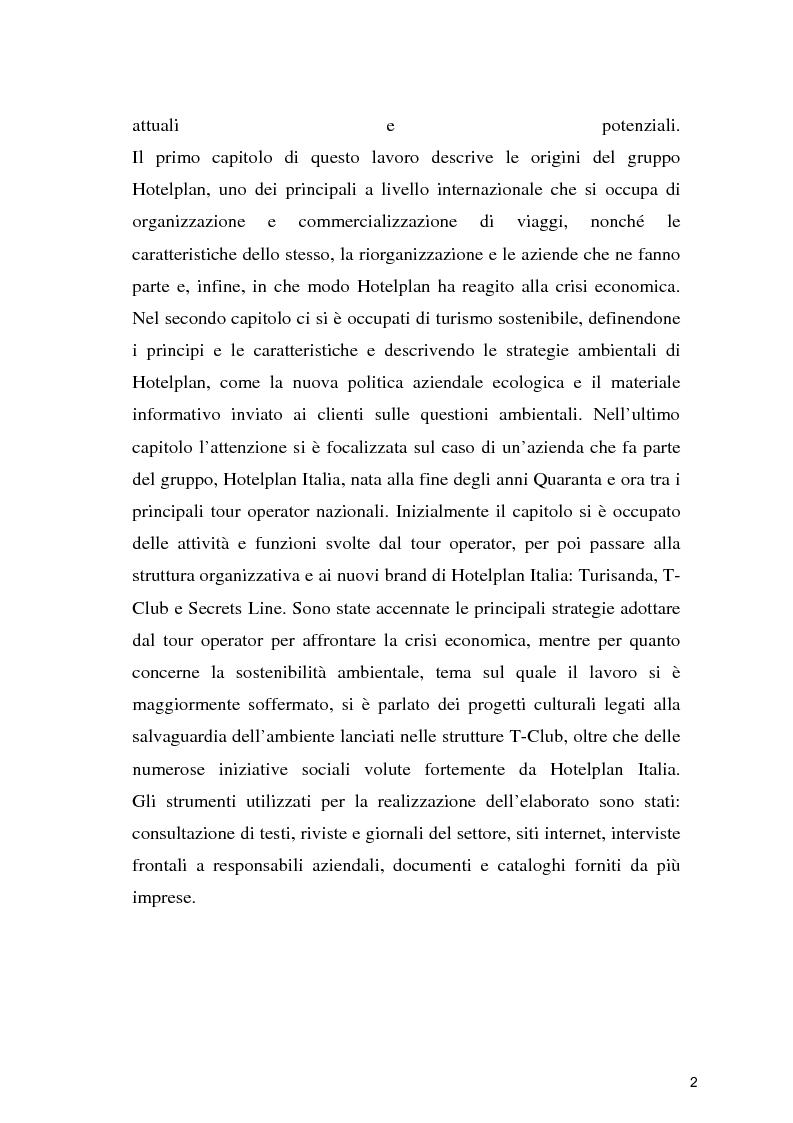 Anteprima della tesi: Il turismo sostenibile: l'esperienza del gruppo Hotelplan, Pagina 3
