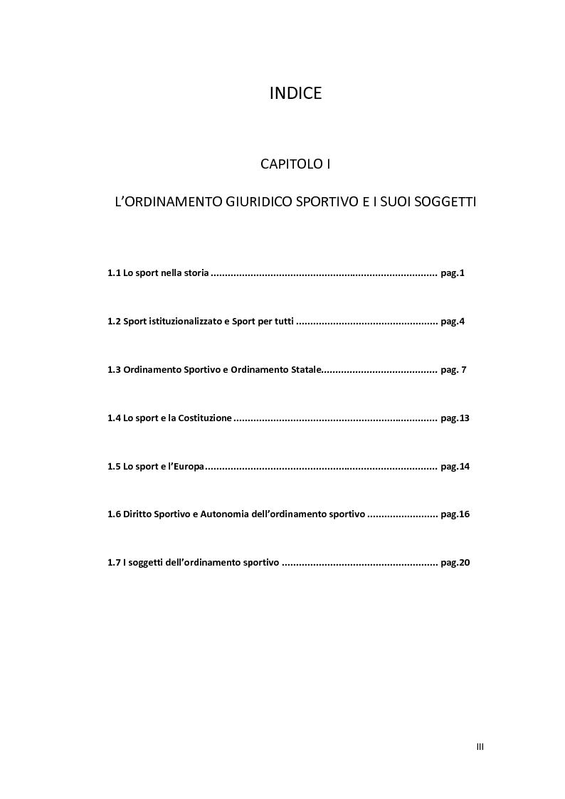 Indice della tesi: La giustizia disciplinare sportiva, Pagina 1