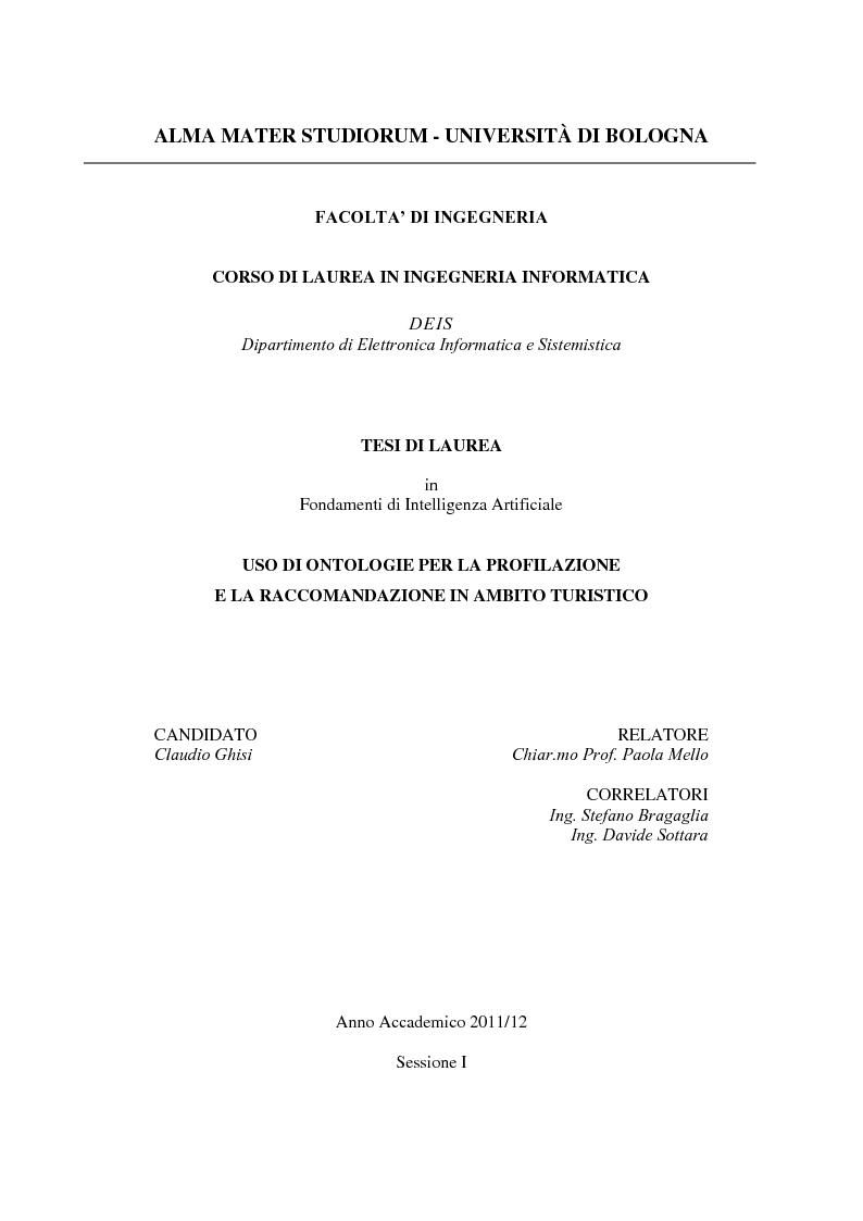 Anteprima della tesi: Uso di ontologie per la profilazione e la raccomandazione in ambito turistico, Pagina 1