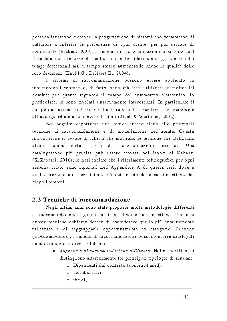 Anteprima della tesi: Uso di ontologie per la profilazione e la raccomandazione in ambito turistico, Pagina 6