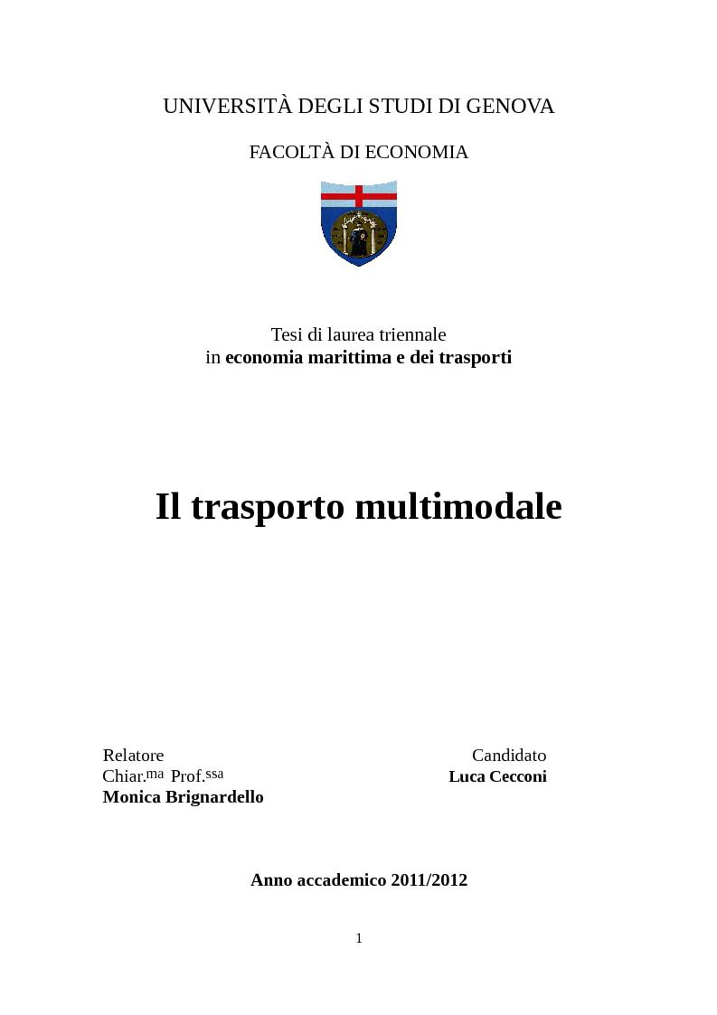 Anteprima della tesi: Il trasporto multimodale, Pagina 1