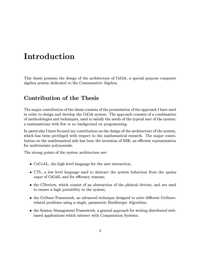 Anteprima della tesi: The Design of the CoCoA 3 System, Pagina 1