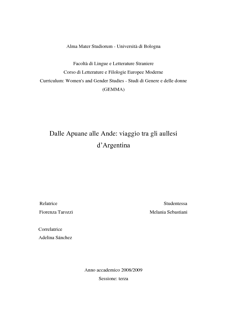 Anteprima della tesi: Dalle Apuane alle Ande: viaggio tra gli aullesi d'Argentina, Pagina 1