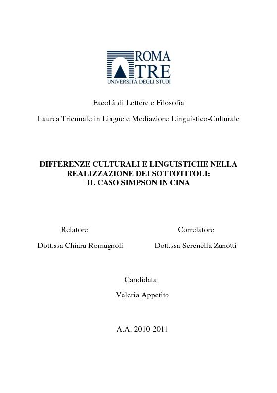 Anteprima della tesi: differenze culturali e linguistiche nella