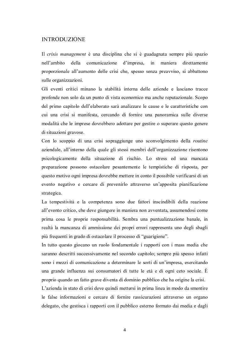 La comunicazione aziendale: crisis management - Tesi di Laurea
