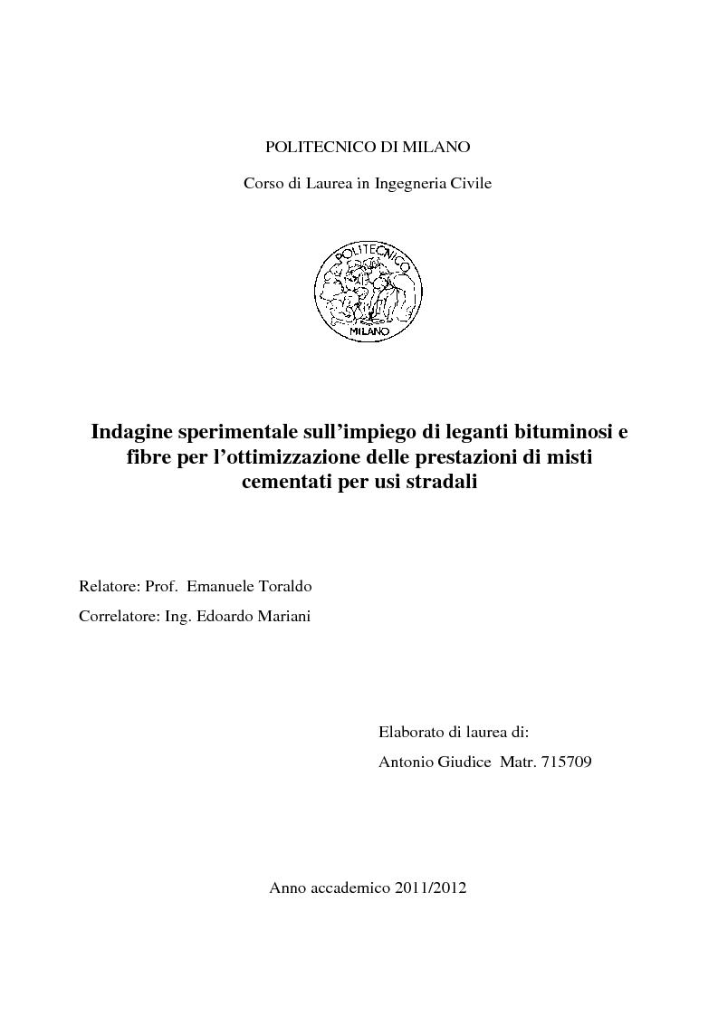 Anteprima tesi indagine sperimentale sull 39 impiego di for Politecnico milano iscrizione
