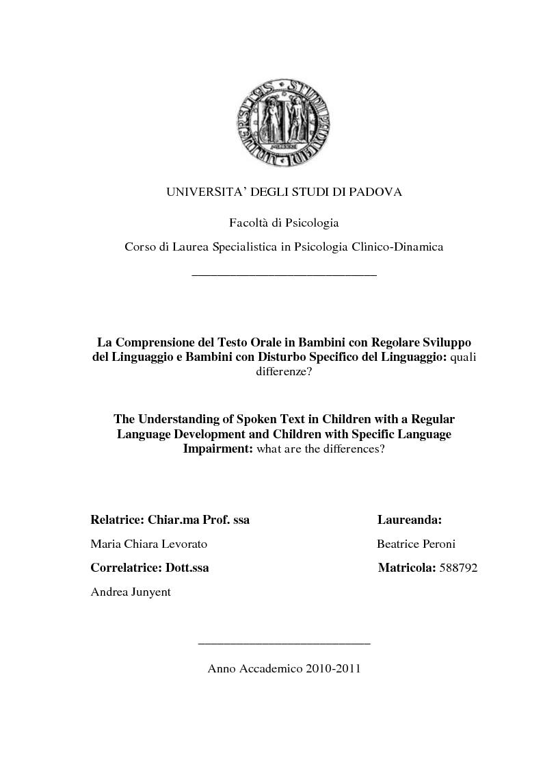 Anteprima della tesi: La Comprensione del Testo Orale in Bambini con Regolare Sviluppo del Linguaggio e Bambini con Disturbo Specifico del Linguaggio: quali differenze?, Pagina 1