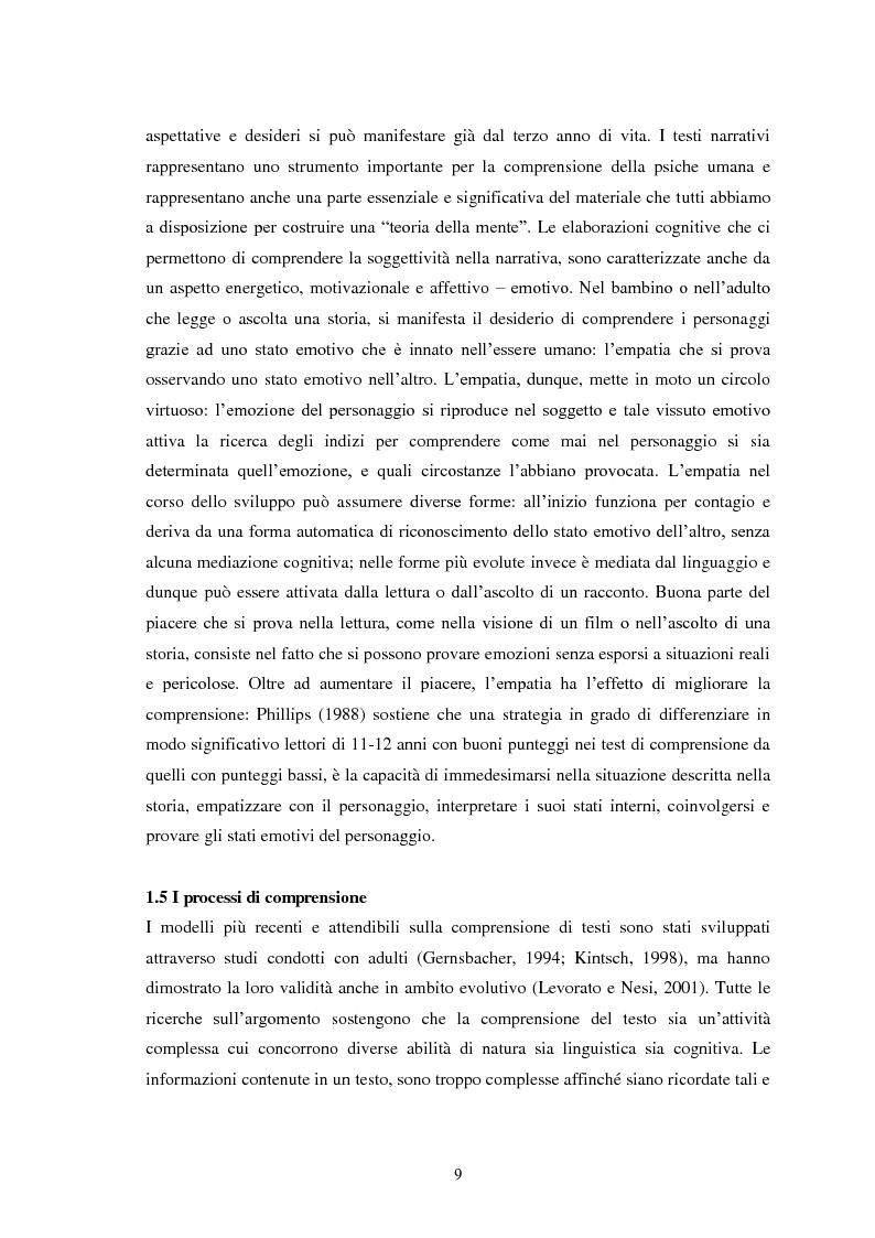 Anteprima della tesi: La Comprensione del Testo Orale in Bambini con Regolare Sviluppo del Linguaggio e Bambini con Disturbo Specifico del Linguaggio: quali differenze?, Pagina 9