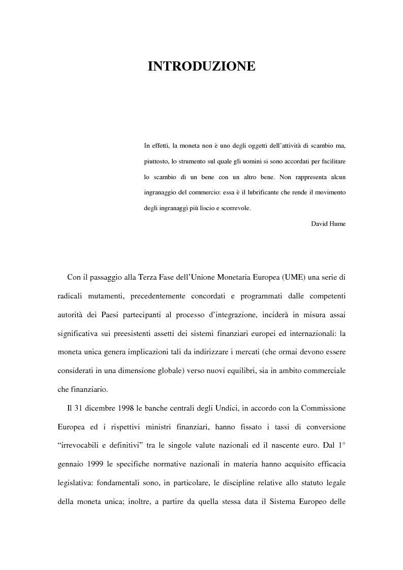 Anteprima della tesi: Le implicazioni della moneta unica europea per i mercati obbligazionari internazionali: un'analisi di medio periodo, Pagina 1