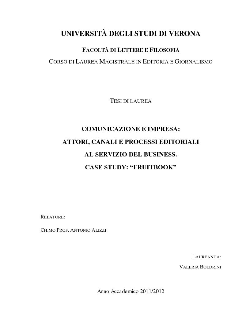 """Anteprima della tesi: Comunicazione e impresa: attori, canali e processi editoriali al servizio del business. Case study: """"Fruitbook"""", Pagina 1"""
