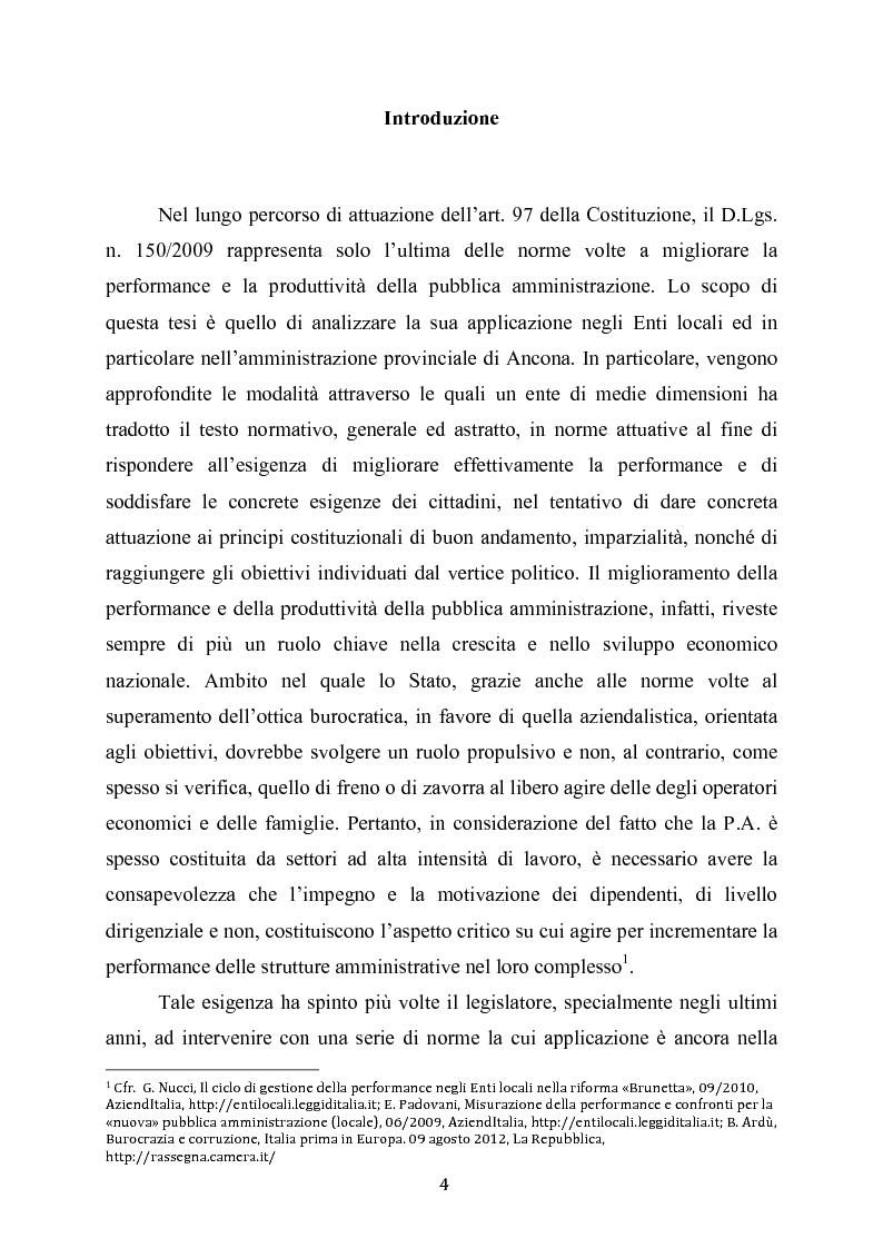 Misurazione e valutazione della performance negli Enti locali. Il caso della Provincia di Ancona. - Tesi di Laurea