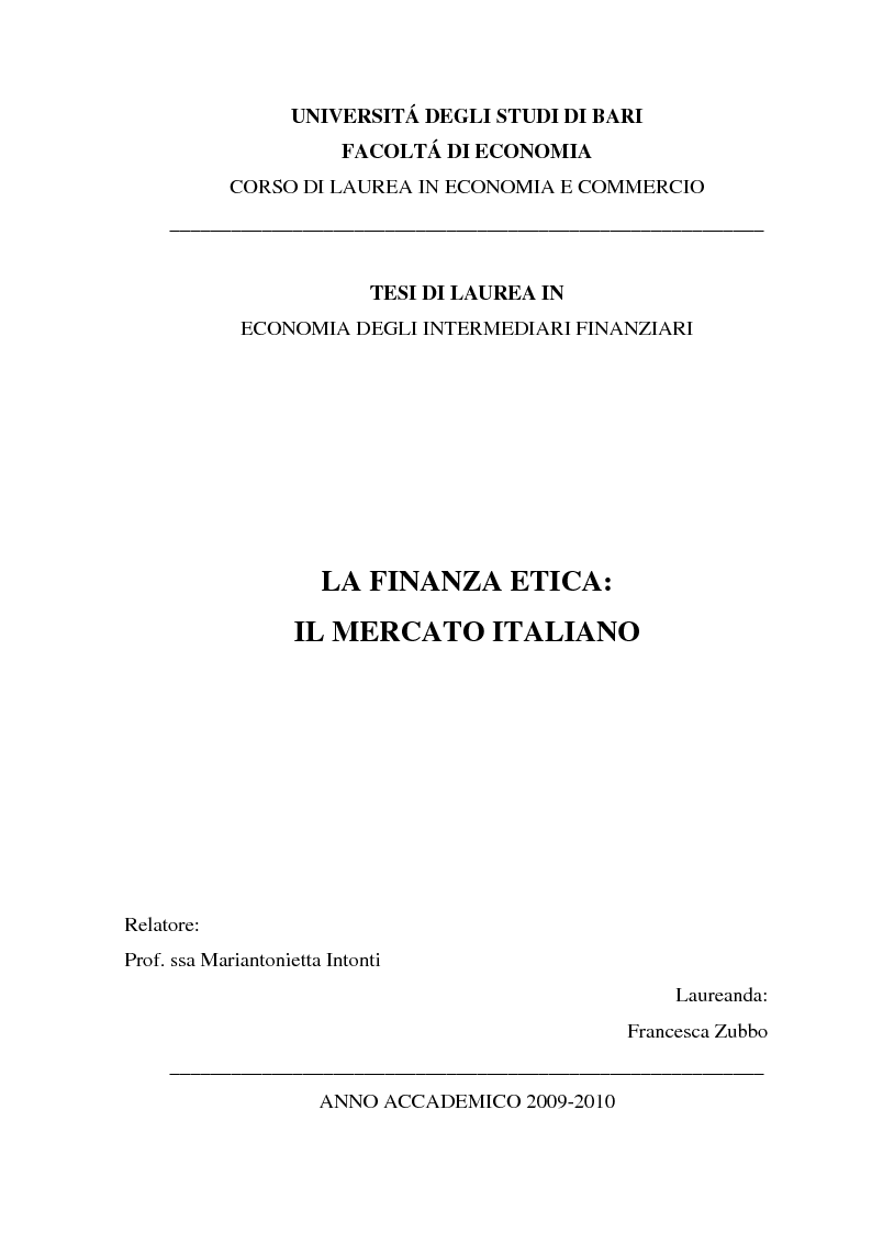 Anteprima della tesi: La finanza etica: il mercato italiano, Pagina 1