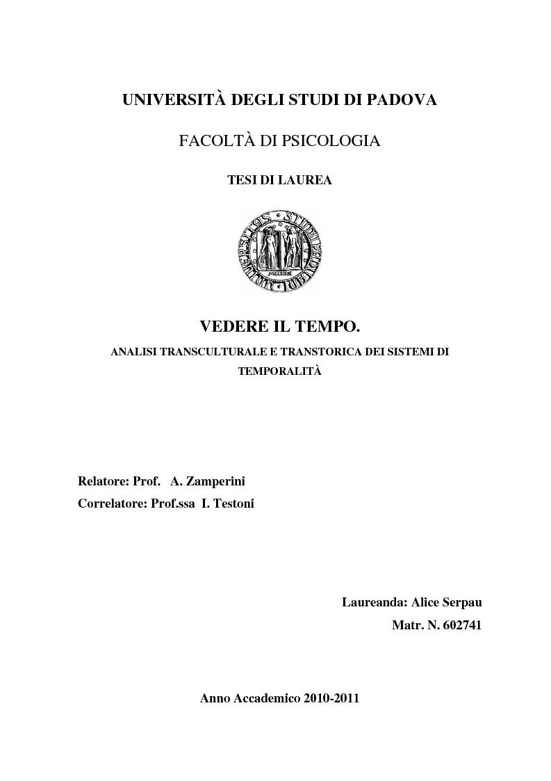 Anteprima della tesi: Vedere il Tempo. Analisi Transtorica e Transculturale dei Sistemi di Temporalità, Pagina 1