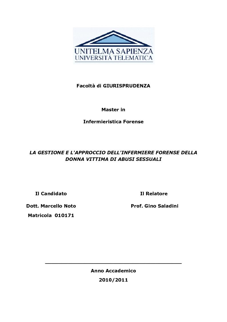 Anteprima della tesi: La gestione e l'approccio dell'infermiere forense alla donna vittima di abusi sessuali, Pagina 1