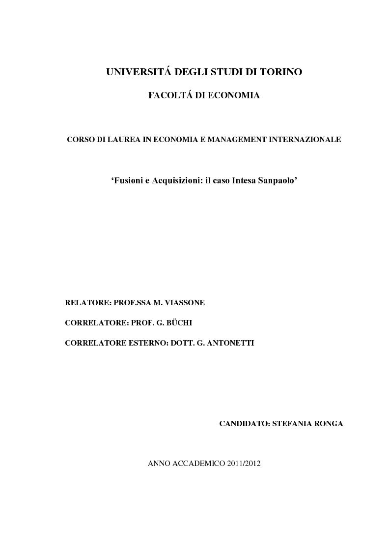 Anteprima della tesi: Fusioni e Acquisizioni: il caso Intesa Sanpaolo., Pagina 1