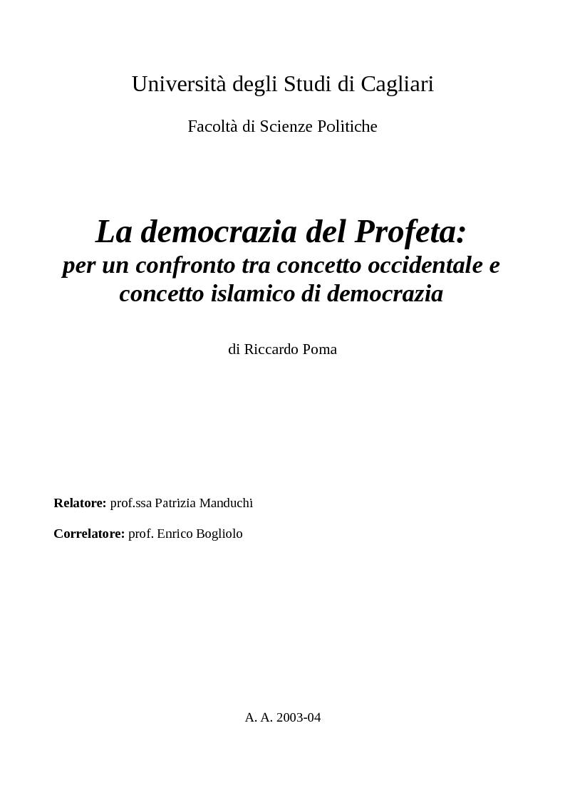 Anteprima della tesi: La democrazia del Profeta: per un confronto tra concetto occidentale e concetto islamico di democrazia., Pagina 1