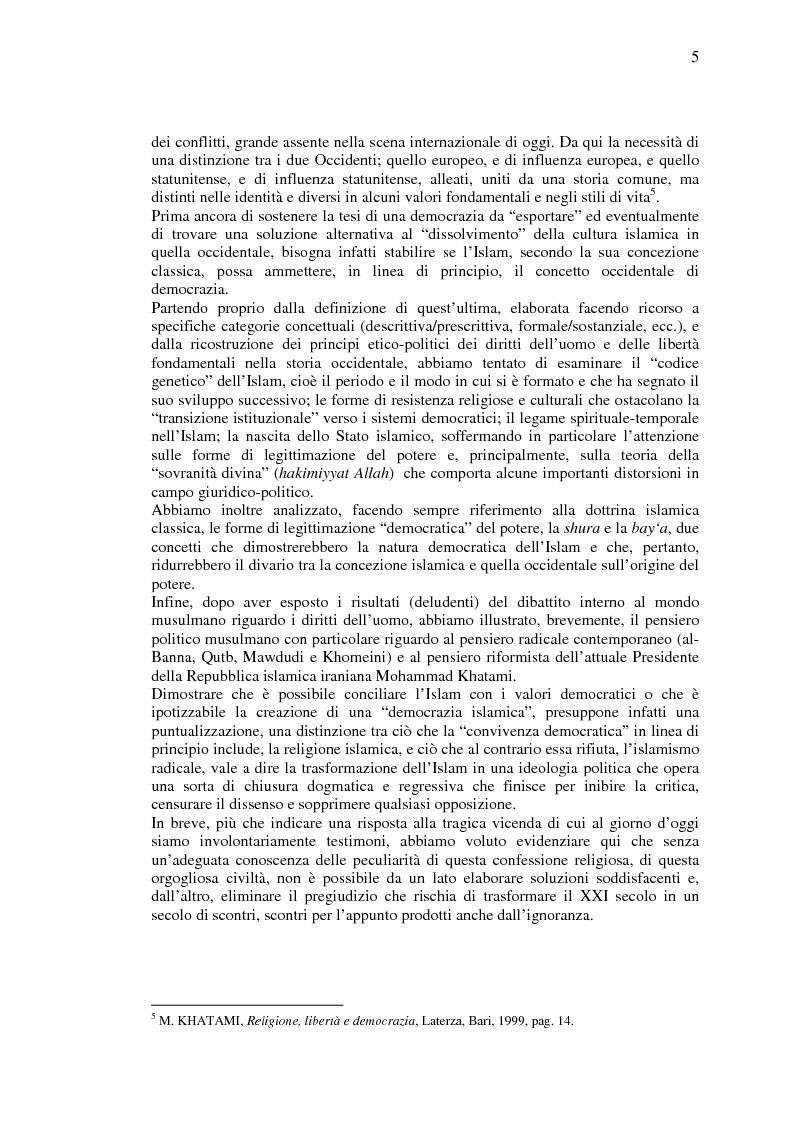 Anteprima della tesi: La democrazia del Profeta: per un confronto tra concetto occidentale e concetto islamico di democrazia., Pagina 4