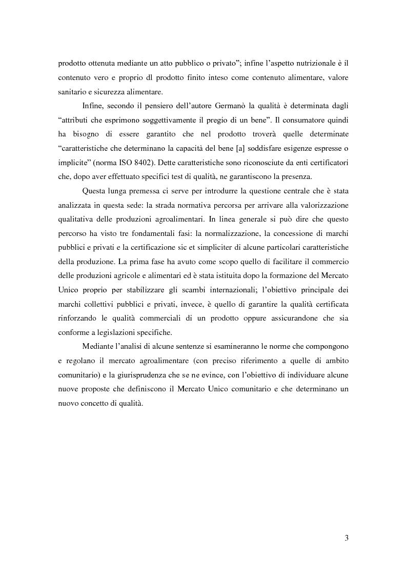 Anteprima della tesi: Qualità: nuovi orizzonti tra norme tecniche, Corte di Giustizia CE e strumenti di tutela., Pagina 4