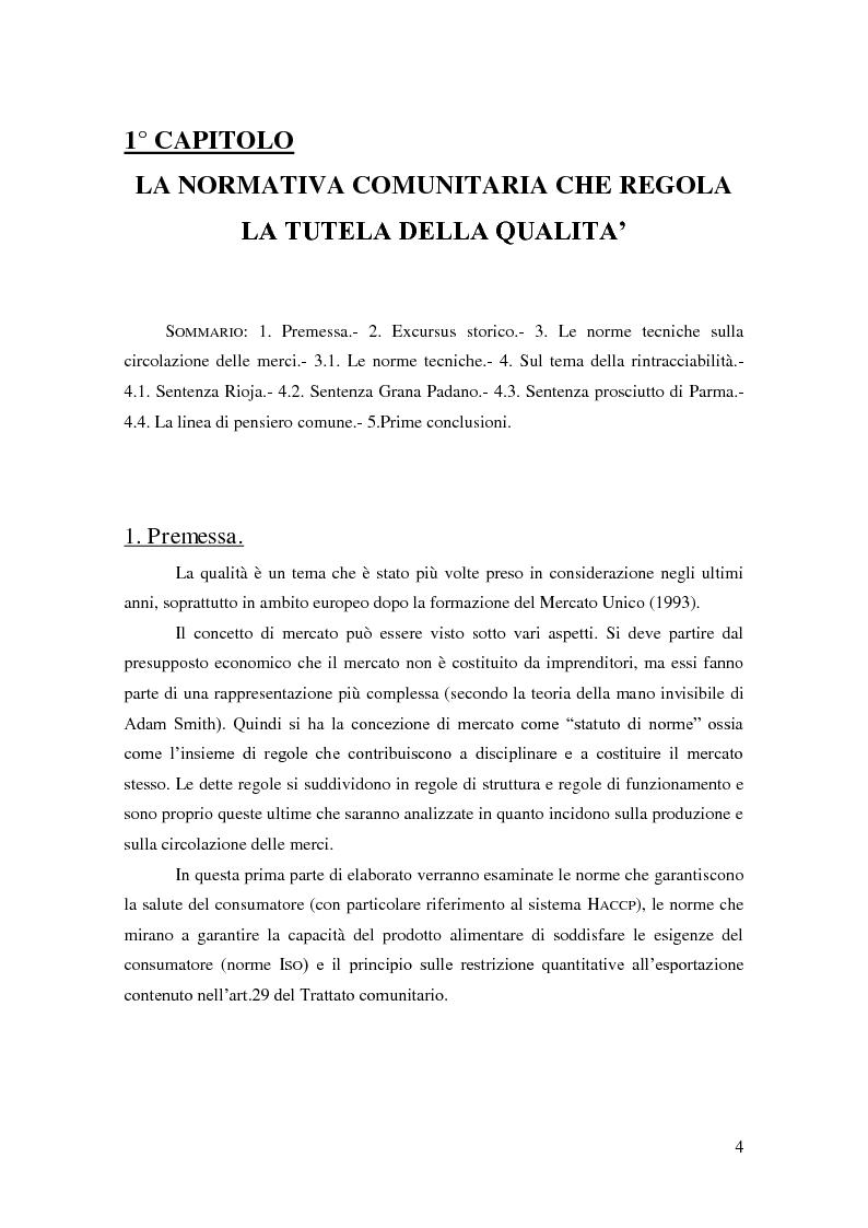 Anteprima della tesi: Qualità: nuovi orizzonti tra norme tecniche, Corte di Giustizia CE e strumenti di tutela., Pagina 5