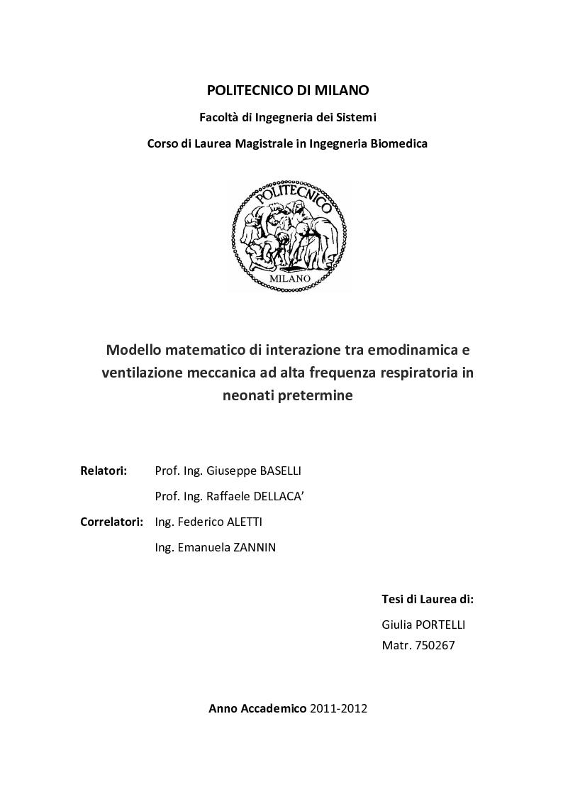 Anteprima della tesi: Modello matematico di interazione tra emodinamica e ventilazione meccanica ad alta frequenza respiratoria in neonati pretermine, Pagina 1