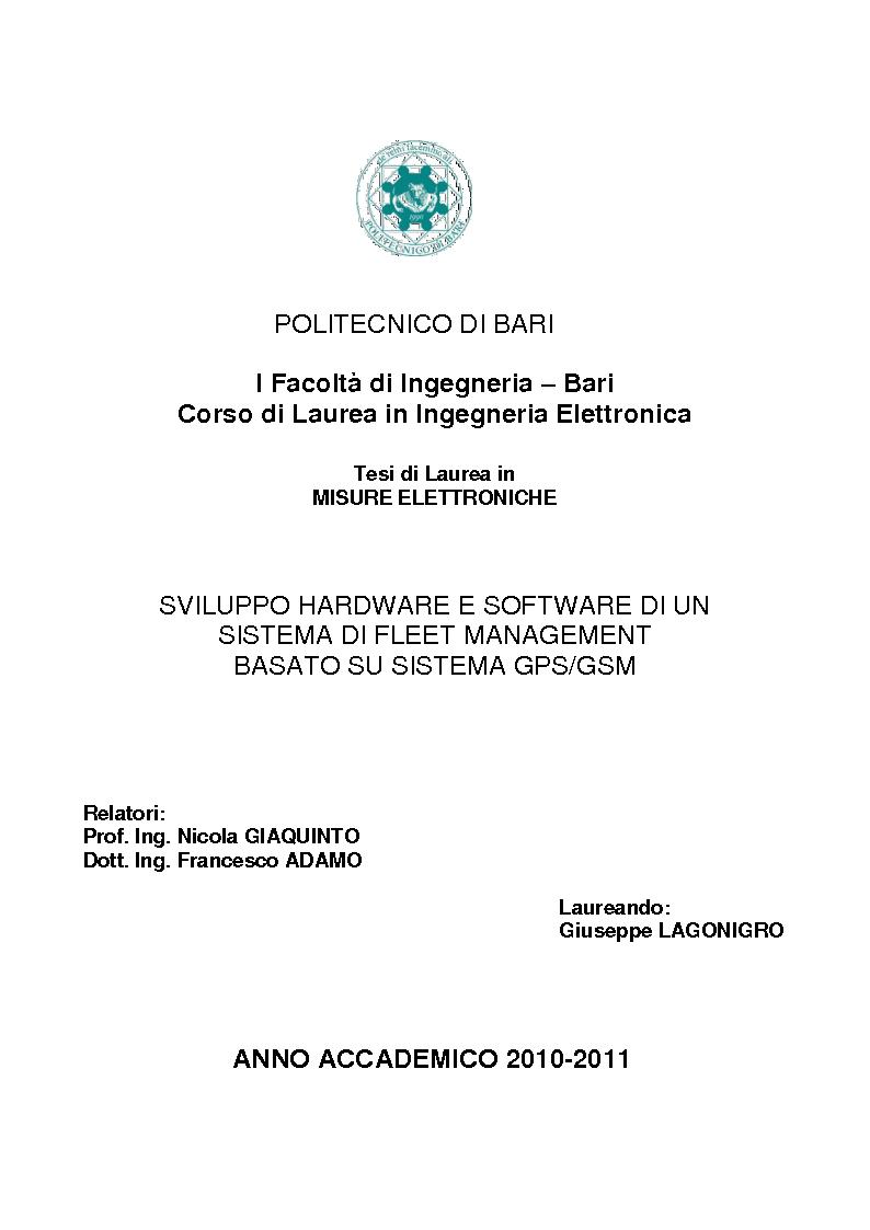 Anteprima della tesi: Sviluppo hardware e software di un sistema di fleet management basato su sistema GPS/GSM, Pagina 1