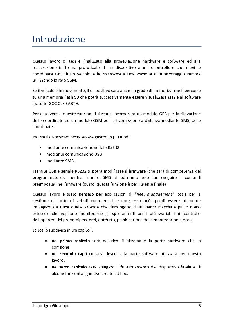 Anteprima della tesi: Sviluppo hardware e software di un sistema di fleet management basato su sistema GPS/GSM, Pagina 2
