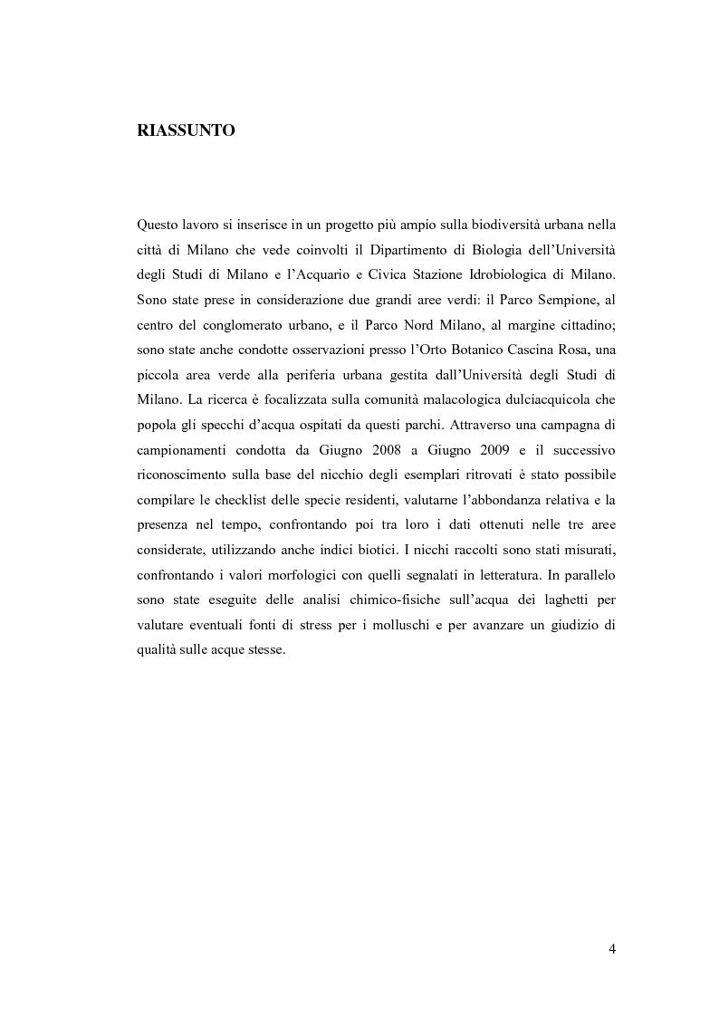Anteprima della tesi: Osservazioni sulla malacofauna dulciacquicola in ambito urbano, Pagina 2