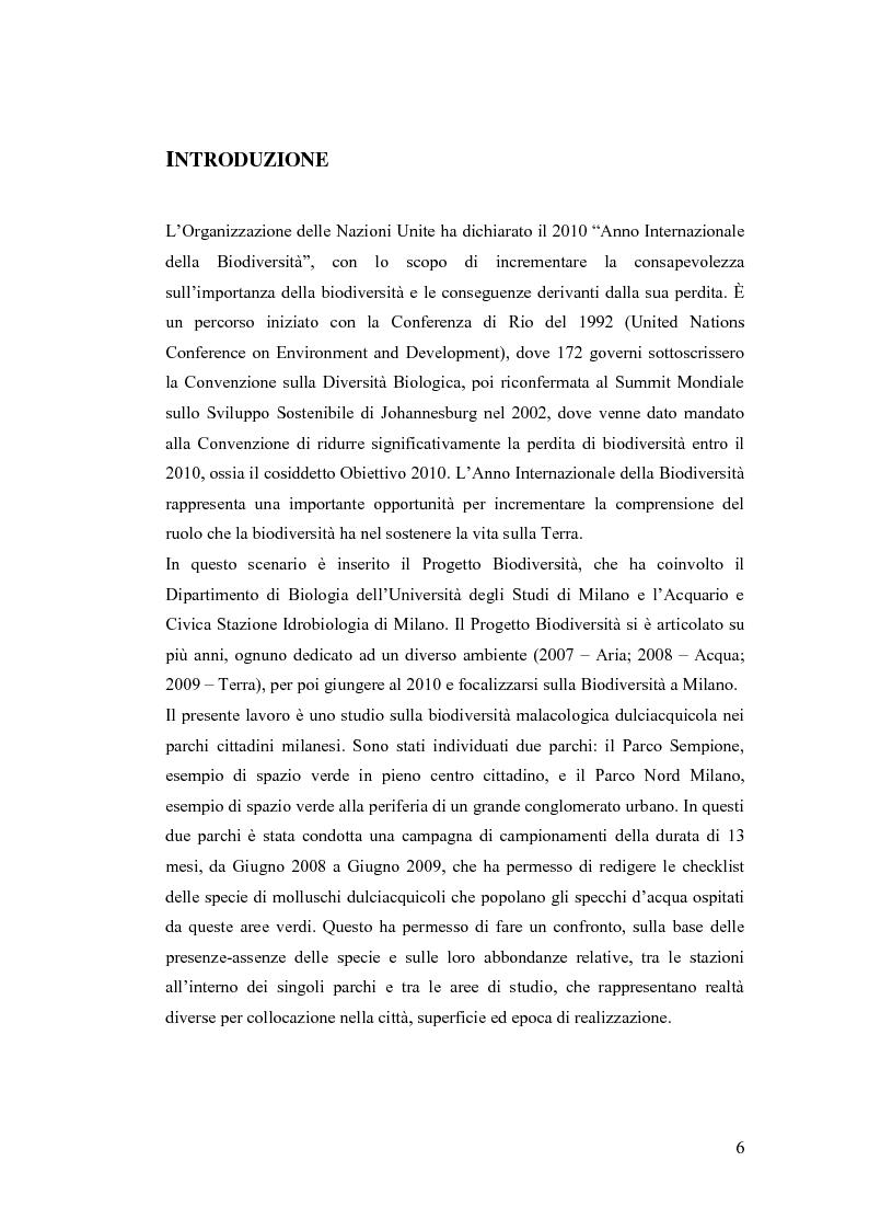 Anteprima della tesi: Osservazioni sulla malacofauna dulciacquicola in ambito urbano, Pagina 4