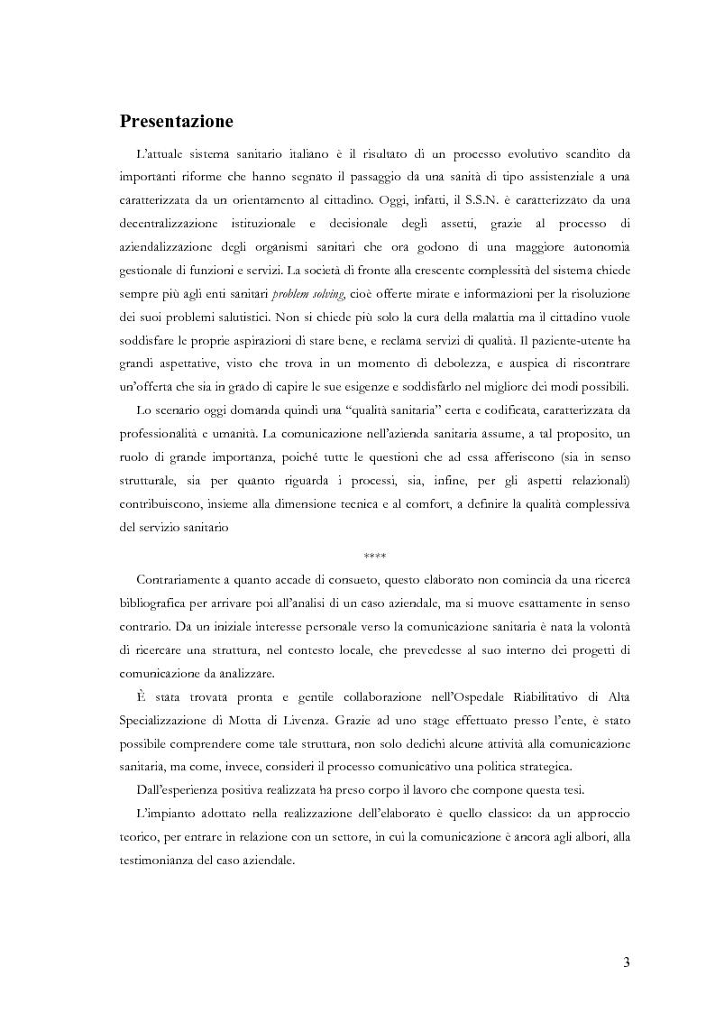 Anteprima della tesi: La comunicazione nelle aziende sanitarie. Il caso dell'Ospedale Riabilitativo di Alta Specializzazione di Motta di Livenza, Pagina 2