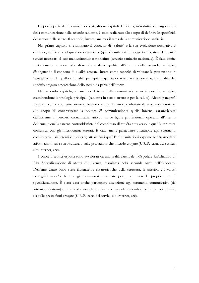 Anteprima della tesi: La comunicazione nelle aziende sanitarie. Il caso dell'Ospedale Riabilitativo di Alta Specializzazione di Motta di Livenza, Pagina 3